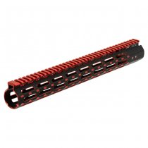 Leapers AR-15 15 Inch Super Slim Free Float M-Lok Handguard - Black / Red